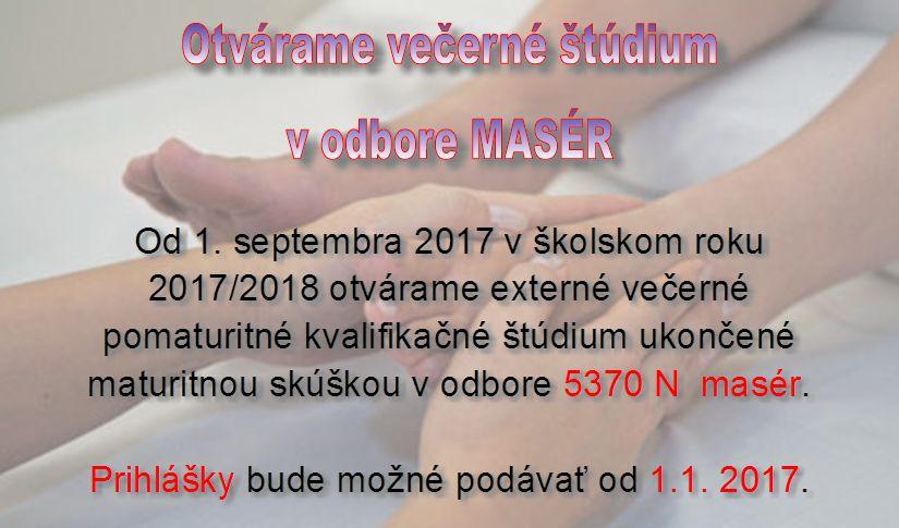 Otvárame večerné štúdium v odbore Masér